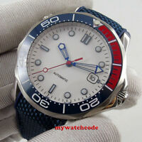 41mm bliger sterile white dial sapphire glass ceramic bezel automatic mens watch