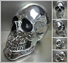 LARGE Chrome Silver SKULL HEAD DECORATION Gothic Biker SCULPTURE Sunglass Holder