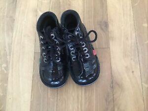 Girls Black Kickers Kick Hi Patent Shoes Boots Size 10 Euro 28 Laces Zip Up