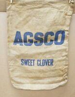 Vintage Agsco Sweet Clover Burlap Seed Bag Sack Gunny Sack