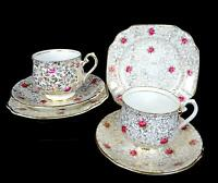 """THOMAS FORESTER & SONS PHOENIX 2 GOLDEN ROSES CHINTZ 2 3/4"""" CUP & SAUCER TRIOS"""