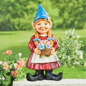 Girl Gnome Gardening Carrying Basket of Flowers Garden Sculpture Statue