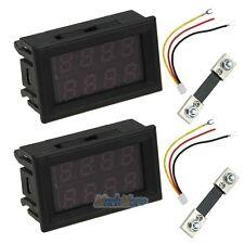 2 Set 200V 100A DC Digital Voltmeter Ammeter LED Amp Volt Meter + Current Shunt