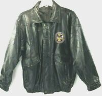 Biker Bomber Jacket Men's Vintage Leather Black Patchwork 1775 Army Patch XXL