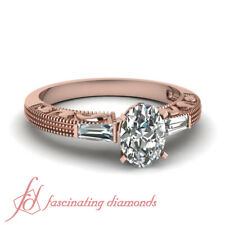 3 Stone Baguette Diamond Vintage Ring 3/4 Ct Oval Shaped In 18K Rose Gold GIA
