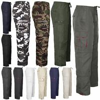 Mens Elasticated Waist Summer Cargo Combat Trousers Casual Work Bottoms Pants