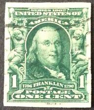 1906 1c Franklin Imperf. regular issue, Scott #314, Used, VF