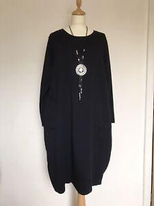 New ITALIAN LAGENLOOK Navy Blue Patch Pocket Tunic Dress - UK 14 16 18