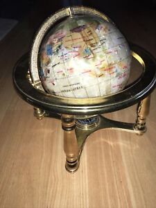 Gemstone Globe With Brass Gimballed Stand