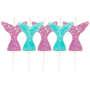 Mermaid Tail Cake Candles 5pk Glitter Sea Happy Birthday Party Decoration Gift