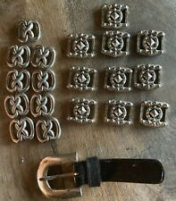 Set of Leather Belt Buckle &19 Conchos Silver Tone Crafting Pieces Belt Making