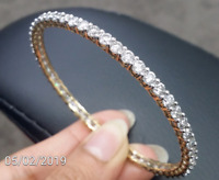 DEAL ! 9.00CT Natural Genuine Diamond Eternity Tennis Bangle Bracelet 18K Gold