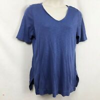 J Jill Blue Pima Cotton Petite Large Tunic Top V Neck Short Sleeve Space Dye