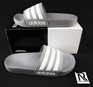 NIB Men's Adidas Adilette Slides Sandals White Grey Flip Flops Shower Gym Swim