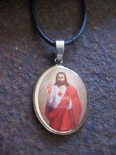 Jesús Amuleto Collar de hombre ~ Mujer Surfista Santo Cuero Marrón Negro Collar