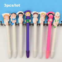 3x Cute Cartoon Doctor Nurse Ball Point Pen Black Ink Polymer Clay School Supply
