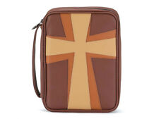 Brown and Tan Cross Thinline Leather Like Vinyl Bible Cover Case w/ Handle