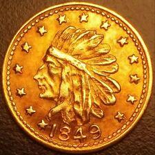 1849 California Gold ONE. Rare ME Hart 10K token circa 1914. R6 = 13-30 known.