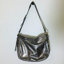 Coach Zoe Metallic Pewter Shoulder Bag EUC