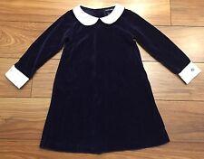 RALPH LAUREN Girls Navy Velvet Dress 4 4T Collared Long Sleeve