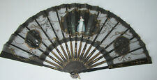 Antique Folding Fan Hand Painted Lady w Sequins Black