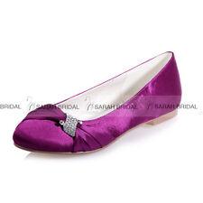 New Round Toe Satin Flat Heel Wedding Bridal Shoes Lady Evening Rhinestone Flats