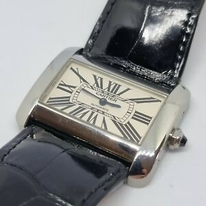 Cartier Ladies Tank Divan 2612 Automatic Watch Leather Strap