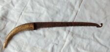 ancienne scie fer forgé XIXe, manche corne, à nettoyer.