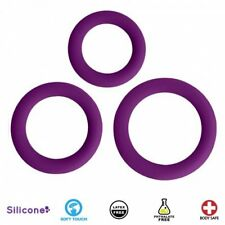 Curve Toys Gossip Soft Touch Love Ring Trio Silicone Body Safe Cock Rings Purple