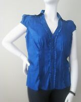 WOMEN SIZE L,XL, Plus 1X, BLUE Shimmer Pleated Button Front Cap Sleeve Top NEW