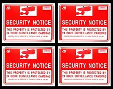 "4 Security Notice Camera 24 Hours  Surveillance  Flexible  Plastic 9""x12"" 4 Sign"