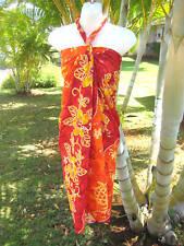 Hawaii Pareo Sarong Orange/Red Floral Cruise Beach Cover-up Hawaiian Luau Dress