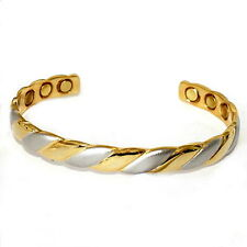 COPPER MAGNETIC BANGLE JEWELRY BRACELET SILVER AND GOLD TWIST CJ6