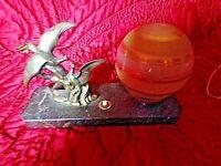 Ancienne lampe de chevet-couple de faisans  art-déco-veilleuse boule granitée