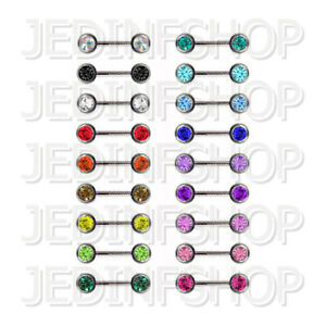 Straight Barbell Bar   1.2mm (16g) - 18mm   Double Gem - Front Facing 18 Colours
