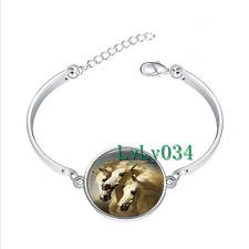 Three White Horses glass cabochon Tibet silver bangle bracelets wholesale