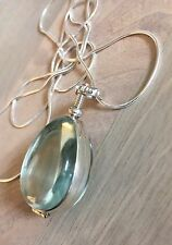 Sterling silver handcrafted antique glass locket Pendant Necklace Brand New