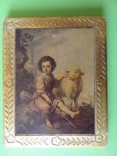 211 - Cadre en bois gravé et doré  - Image « Le Bon Berger » Murillo