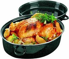 Enamel Turkey Roaster Pan,16.5 x 12 x 8 inches, Black
