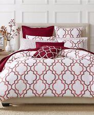 Nip Charter Club Damask Designs Geo Garnet Red White King Comforter Set 3pc