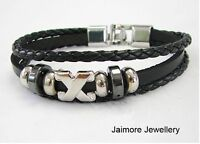 Leather and Silver Bangle Charm Friendship Bracelet Boys Girls Ladies Mens NEW