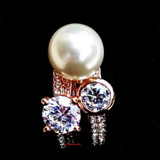 Rose Gold Plate White Pearl 3 Stackable Crystal Ring Set Size 5 R68