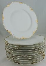 ANTIQUE LIMOGES WHITE GOLD SALAD PLATE SET 12 HAVILAND SCALLOPED DINNERWARE