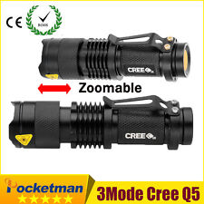 CREE 3 Modes 2000 Lumen Waterproof LED  Zoom Flashlight Torch Light Mini Black