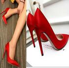 Womens Vogue Dress Ladys High Heels Satin Pointed Toe Pumps Stiletto Prom Shoes