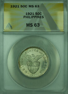 1921 50C Philippines ANACS MS-63 50 Centavos Silver Coin KM#171 (A)