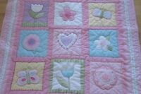 Circo Flower Butterfly Baby Blanket Quilt Gingham Check Pink Flowers