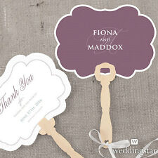 24 Personalized Contemporary Vintage Hand Fans Wedding Favors