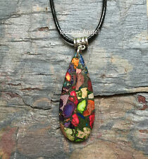 Rainbow Sea Sediment Jasper & Pyrite Teardrop Necklace Pendant Reiki Healing