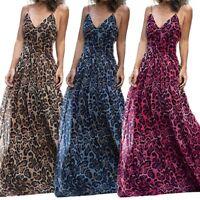 Fashion Women's Sexy Dresses Leopard Print High Waist V-Neck Long Dress